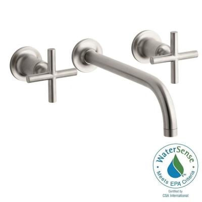 KOHLER Purist Wall Mount 2-Handle Low-Arc Water-Saving Bathroom Faucet Trim with 90 Degree Angle Spout in Vibrant Brushed
