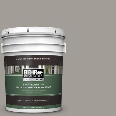 BEHR Premium Plus Ultra 5-gal. #PPU18-15 Fashion Gray Semi-Gloss Enamel Exterior Paint