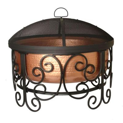 null Copper and Wrought Iron Scroll Fire Pit-DISCONTINUED