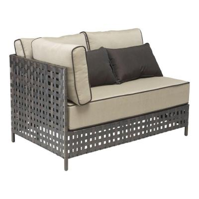 Pinery Beige Long Right Corner Patio Chaise Lounge with Beige Cushion