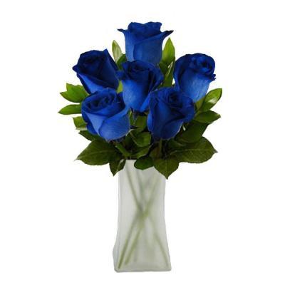 The Ultimate Bouquet Gorgeous Blue Rose Bouquet in Clear Vase (6 Stem) Overnight Shipping Included