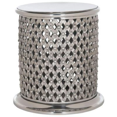 Metal Lace End Table/Stool in Silver Product Photo