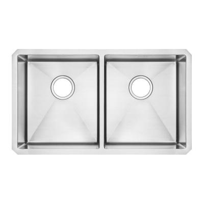 American Standard Prevoir Undermount Brushed Stainless Steel 29x18x9 in. 0-Hole Double Bowl Kitchen Sink-DISCONTINUED