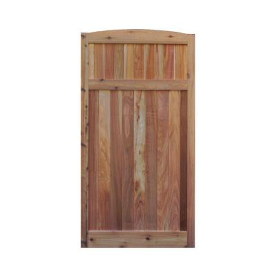 3 ft. x 6 ft. Western Red Cedar Arch Top Solid Lattice Fence Gate Product Photo