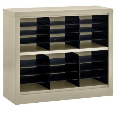Sandusky 30 in. H x 34.5 in. W x 13 in. D Steel Commercial Literature Organizer Shelving Unit in Putty