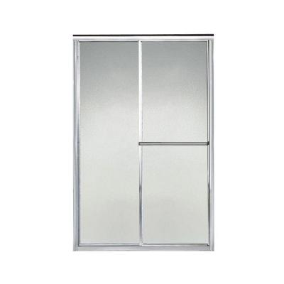 STERLING Deluxe 46 in. x 65-1/2 in. Framed Sliding Shower Door in Silver with Pebbled Glass Texture