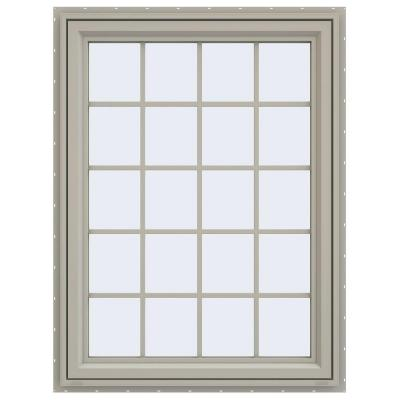 35.5 in. x 47.5 in. V-4500 Series Left-Hand Casement Vinyl Window with Grids - Tan Product Photo