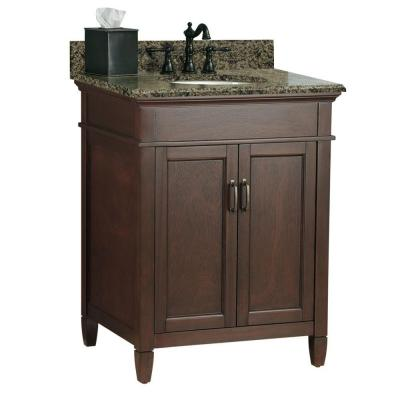 Foremost Ashburn 25 in. W x 22 in. D Vanity in Mahogany with Granite Vanity Top in Quadro with White Basin