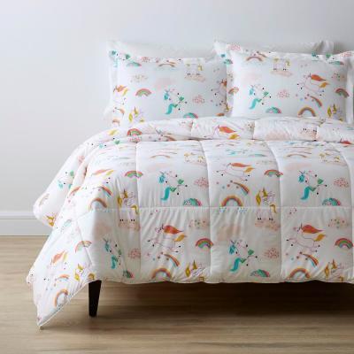 Playful Unicorn Graphic Organic Cotton Percale Comforter