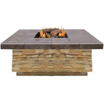 48 in. Natural Stone Propane Gas Fire Pit in Brown with