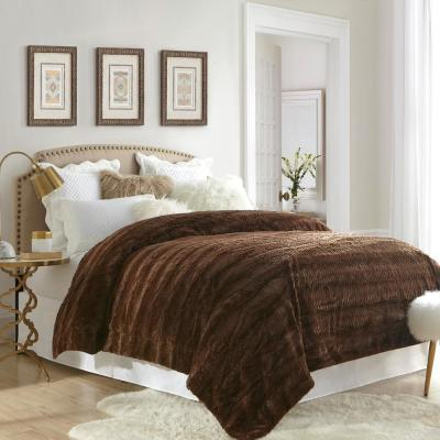 Stylish Embossed Faux Fur Reverse to Micomink Blanket