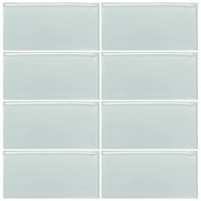 Jeffrey Court Morning Mist 3 in. x 6 in. Glass Wall Tile