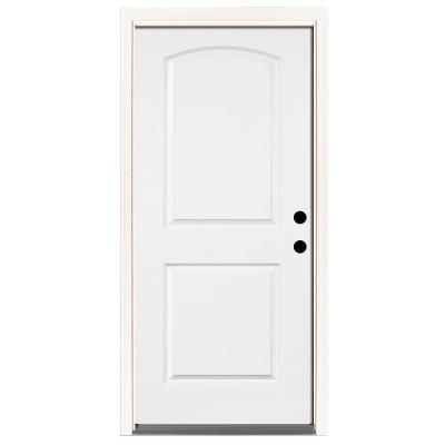 Premium 2-Panel Arch Primed Steel Prehung Front Door
