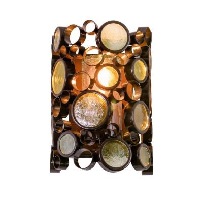 Varaluz Fascination 1-Light Outdoor Glossy Bronze Wall Sconce with Champagne Glass