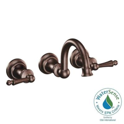 MOEN Waterhill Wall Mount 2-Handle High-Arc Bathroom Faucet Trim Kit in Oil Rubbed Bronze (Valve Sold Separately)