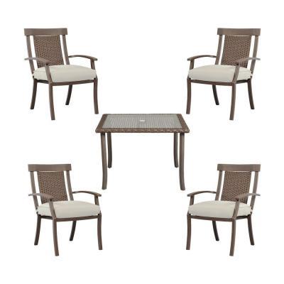 Hampton Bay Bloomfield Woven 5-Piece Patio Dining Set with Cushion Insert (Slipcovers Sold Separately)