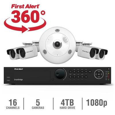 16-Channel HD 4TB Surveillance NVR with (1) 3MP Camera and (4) Indoor/Outdoor 1080p Bullet Cameras Product Photo