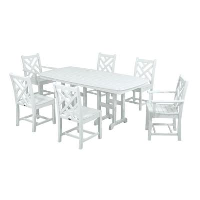 POLYWOOD Chippendale White 7-Piece Patio Dining Set