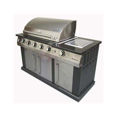 Landmann 7 burner propane gas grill in stainless steel and black with black granite top 42145 - Home depot bbq propane ...