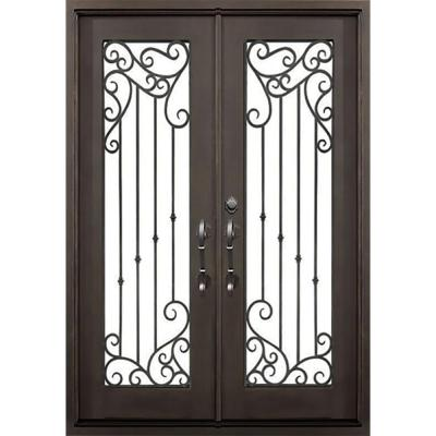 72 in. x 82 in. Lakeland Dark Bronze Left-Hand Outswing Painted Iron Prehung Front Door with Clear Glass and Hardware Product Photo
