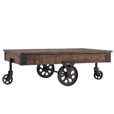 Grove Place 3.9 ft. Factory Cart Distressed Cocoa Cocktail Table Product Photo