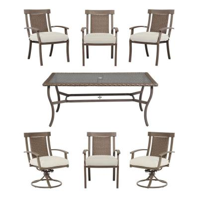 Hampton Bay Bloomfield Woven 7-Piece Patio Dining Set with Cushion Insert (Slipcovers Sold Separately)