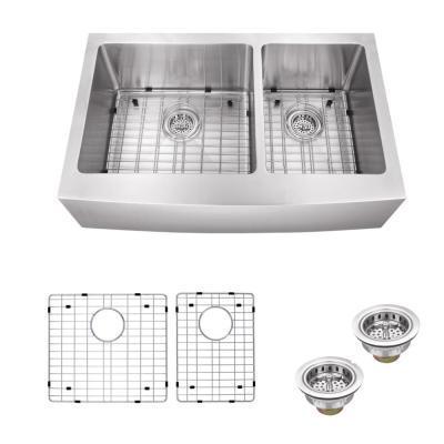 IPT Sink Company Apron Front 36 in. 16-Gauge Stainless Steel Double Bowl Kitchen Sink in Brushed Stainless