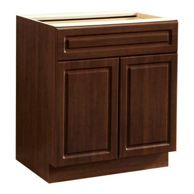 Heartland Cabinetry Ready to Assemble 30x34.5x24.3 in. Base Cabinet with Double Doors and 1 Drawer in Cherry
