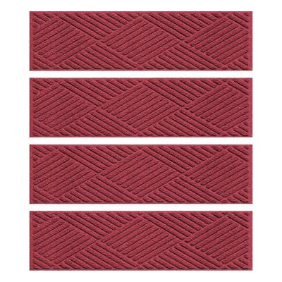 Red/Black 8.5 in. x 30 in. Diamonds Stair Tread (Set of 4) Product Photo