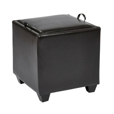 Eco Leather Storage Ottoman with Tray in Espresso Product Photo