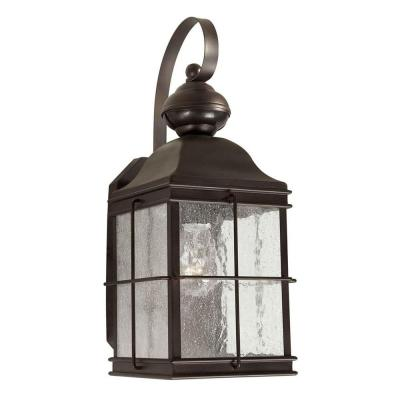 Talista 1-Light Outdoor Antique Bronze Wall Lantern with Clear Seeded Glass Panels