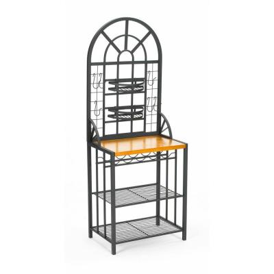 Dome Steel 26 in. W Baker's Rack with Wine Storage in Black Product Photo