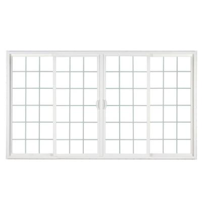 144 in. x 80 in. 4-Panel Contemporary Vinyl Sliding Patio Door w/ ProSolar Low-E Glass, Grids, Custom Interior Hardware Product Photo