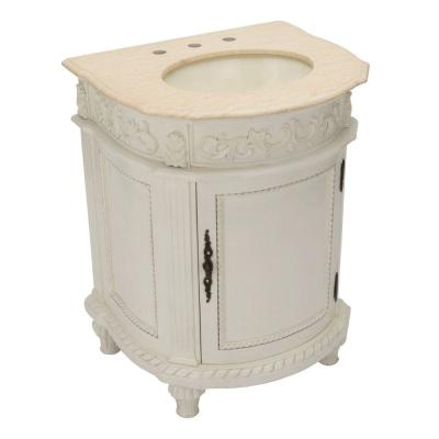 Home Decorators Collection Chelsea 26 in. W x 22 in. D Vanity in Antique Ivory with Granite Vanity Top in Cream-DISCONTINUED