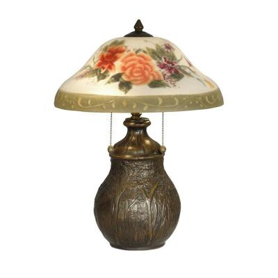 Dale Tiffany 22 in. Hand Painted Floral Table Lamp with Antique Bronze Base