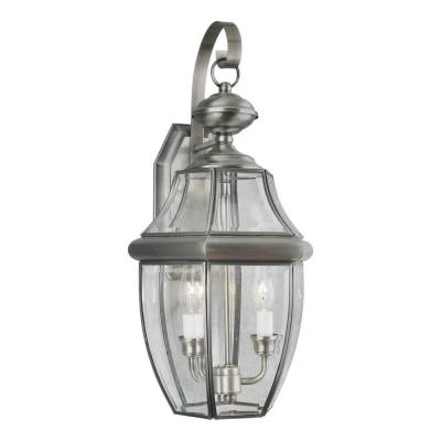 Talista 2-Light Outdoor Antique Pewter Lantern with Clear Beveled Glass Panel