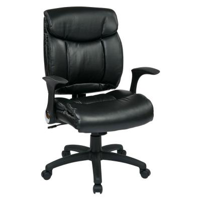 Faux Leather Managers Chair with Flip Arms in Black Product Photo