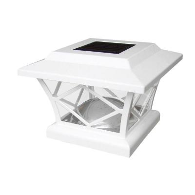 7 in. x 7 in. Solar Powered White Plastic Post Cap Product Photo