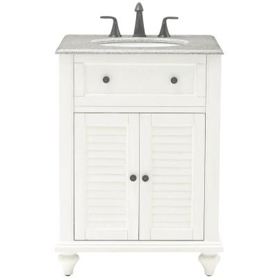 Home Decorators Collection Hamilton 25 in. Shutter Vanity in Ivory with Granite Vanity Top in Grey with White Basin