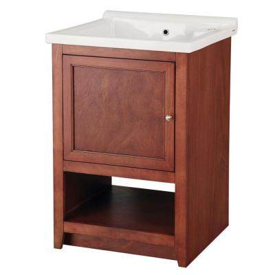 Foremost Westmount Laundry Cabinet in Light Walnut and Vitreous China Sink in White-DISCONTINUED