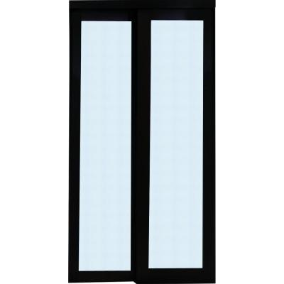 80 In Composite Espresso 1 Lite Tempered Frosted Glass Sliding Door