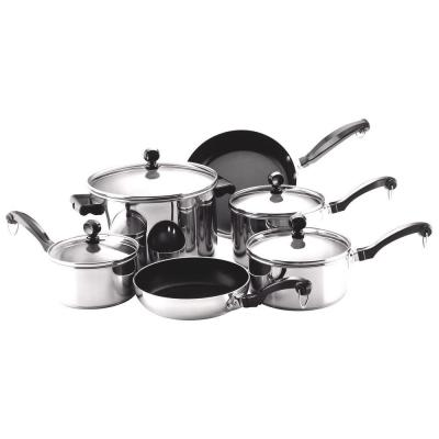 Farberware Classic Series 10-Piece Stainless Cookware Set with Lids