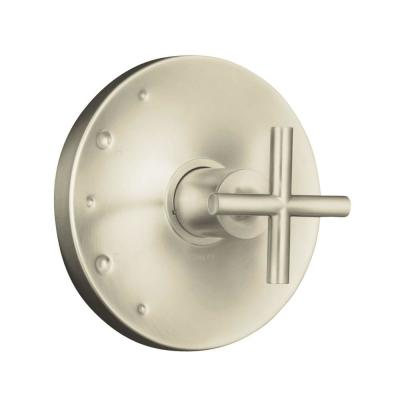 KOHLER Purist 1-Handle Rite-Temp Valve Trim Kit in Vibrant Brushed Nickel with Cross Handle (Valve Not Included)