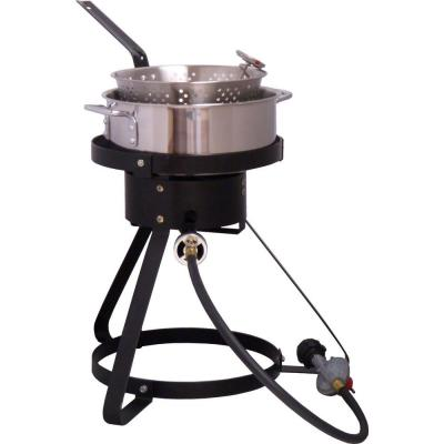 King Kooker 54,000 BTU Bolt Together Propane Gas Outdoor Cooker with Low Profile 7 qt. Stainless Steel Fry Pan