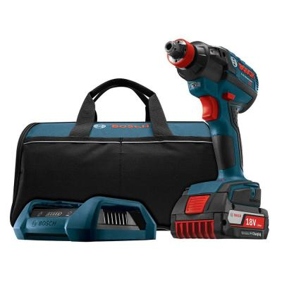 Bosch 18 Volt Lithium-Ion Cordless 1/4 in. Hex and 1/2 in. Brushless Socket-Ready Impact Driver Kit with Wireless Charging Kit