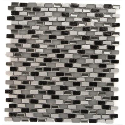 Paradox Space Mini Brick Glass Tile - 12 in. x 12