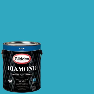 1 gal. #HDGB41D Sticky Note Blue Satin Interior Paint with Primer