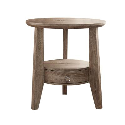 23 in. Dia Dark Taupe Reclaimed-Look Accent Table with 1 Drawer