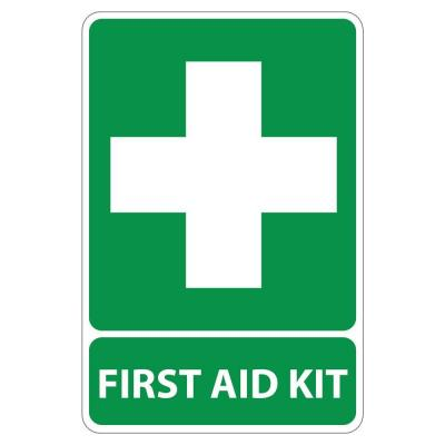 Rectangular Plastic First Aid Kit Sign