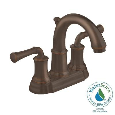 American Standard Portsmouth 4 in. Centerset 2-Handle High-Arc Bathroom Faucet with Speed Connect Drain in Oil Rubbed Bronze